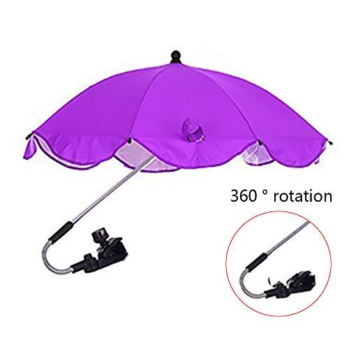YQY Bébé Pram Umbrella 68cm Diamètre bébé Universel Parasol, Couvertures Sun, avec Universal réglable, pour Pram, Poussette, Tout-Petits, Poussette, Buggies, Landau,Violet