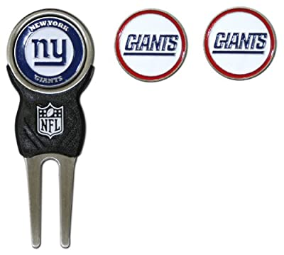Team Golf NFL New York Giants Divot Tool with 3 Golf Ball Markers Pack, Markers are Removable Magnetic Double-Sided Enamel