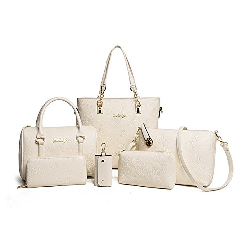 Tisdaini® Damen handtaschen Mode Prägung Schultertaschentasche Set 6 Stuck Shopper Umhängetaschen Brieftasche Cremeweiß
