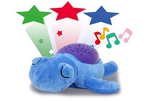 Jamara 460431 Sternenlicht Dreamy Schildkröte Sternenhimmel Projektion, Stern-/ Mondmuster, LED wechselnde Farben, beruhigende Melodien, Licht EIN/aus, Abschaltautomatik, blau