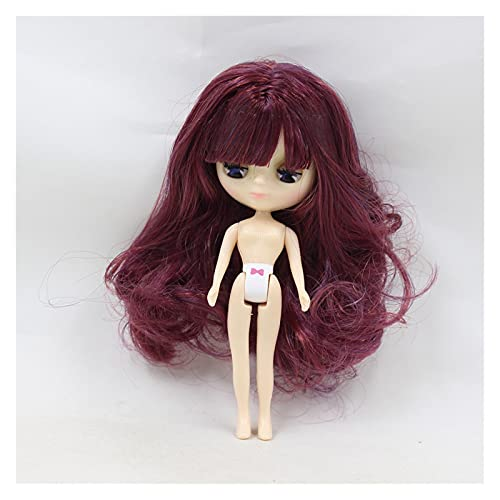 Demoyu Mini Blyth Puppe Bunte Pony Haare Nackte Fabrik-Puppe Geeignet für DIY Veränderung Make-up 11cm Mode Mädchen Spielzeug (Farbe : Silver, Größe : 11cm)