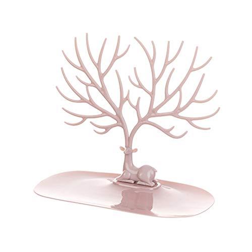 U/K Soporte de árbol de joyería para Colgar, Organizador de Joyas, Titular del Collar, Soporte de la Pulsera, Organizador de Joyas, diseño Decorativo Staggowweight-árbol (Color : Pink)