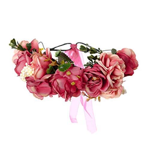 Headband Turbans Hair Band For Women Simulation Rose Flower Garland Artificial Flower Party Wedding Girls Headband Fabric Flower Wreath Hair Flower Crown Red