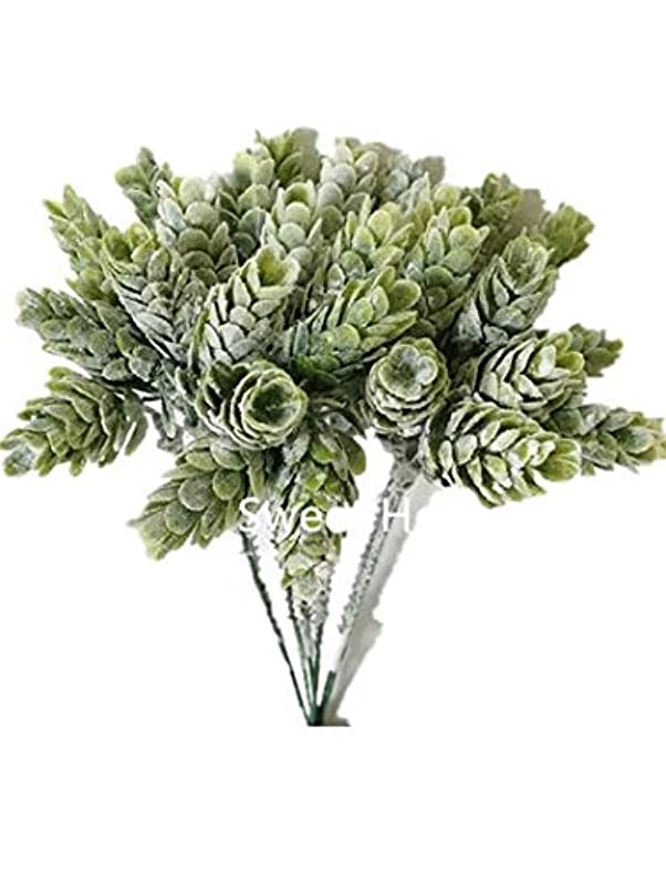 Sweet Home Deco 7'' Artificial Hops Greenery Craft Picks for Floral Designs (6 Picks) (Flocked Green) fvolkucw023633