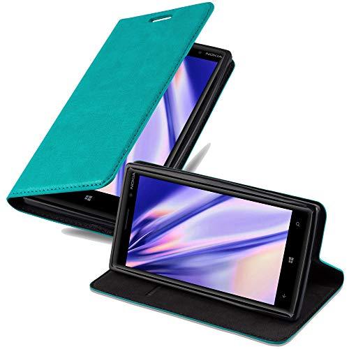 Cadorabo Hülle für Nokia Lumia 830 in Petrol TÜRKIS - Handyhülle mit Magnetverschluss, Standfunktion & Kartenfach - Hülle Cover Schutzhülle Etui Tasche Book Klapp Style