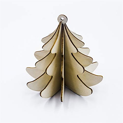 Bigsweety Wooden Christmas Tree Decorations Ornaments Hanging 3D Christmas Tree Decorations