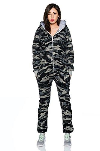 Crazy Age Jumpsuit Overall Einteiler CA 2840 Trendigen Camouflage Farben (Schwarz) - 2