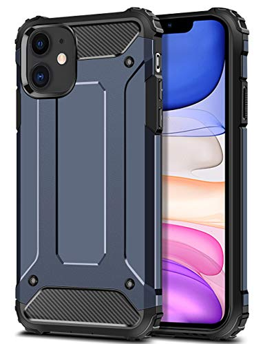 Wollony for iPhone 11 Case Rugged Heavy Duty Armor Hybrid Dual Layer Slim Fit Hard Impact Resistant Phone Case Anti-Scratch Durable Cover for iPhone 11 6.1 inch Support Power Sharing Deep Blue