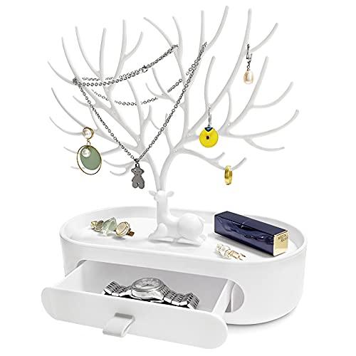 AOT Expositor para joyas con cajón, 3 en 1, para collares, pendientes, anillos, pulseras, collares y relojes, Acrilonitrilo butadieno estireno,