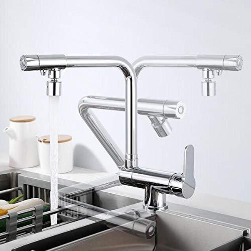 Grifo Tres Vias Osmosis Cocina Latón Plegable Agua Fría y Caliente Paralelo 3 En 1 Purificación Directa de Agua Potable Grifo de Cocina Cromado