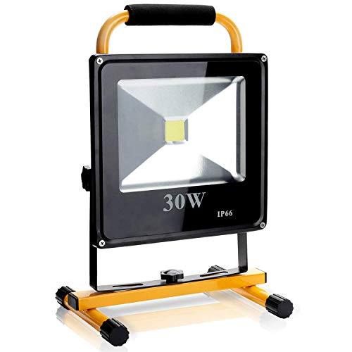 Hengda LED Baustrahler 30W Arbeitsscheinwerfer Flutlicht-Lampe 2400 Lumen Arbeitsleuchte IP66 Bauscheinwerfer inkl. Standgestell und Tragegriff, Akku Strahler, Gelb