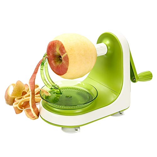 Cambom Manual Apple Peeler Slicer – Suction Non Slip Counter Grips - Automatic Hand Crank - 2 Replaceable Stainless Steel Blades with Protect Cover