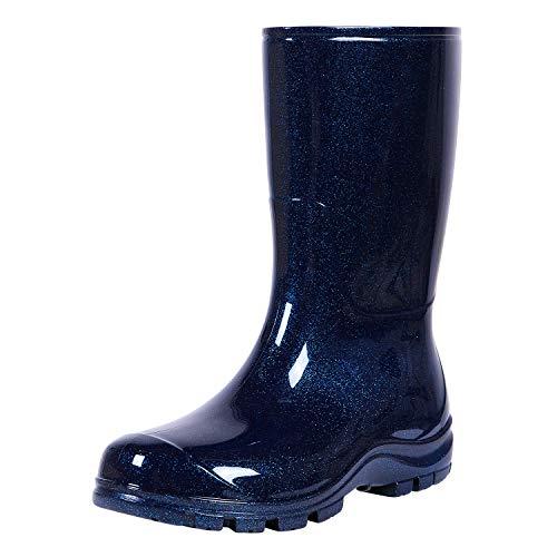 Women's Mid Calf Rain Boots Short Waterproof Garden Shoes Starry Blues, 8.5