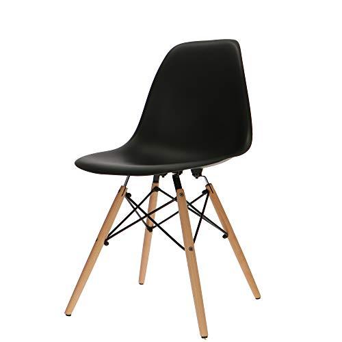 Popfurniture Eames DSW-stoel, eetkamerstoel, woonkamerstoel, bureaustoel van kunststof en ahornhout, 49 x 55 x 85 cm