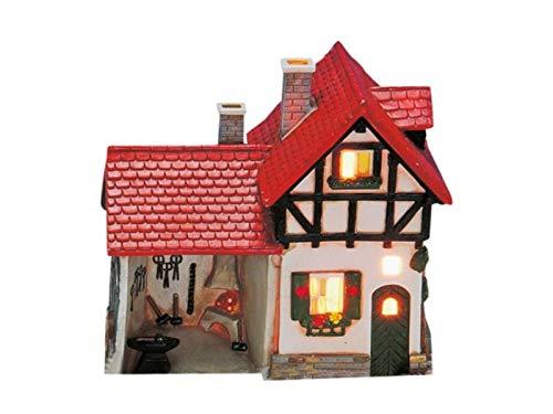 meindekoartikel Haus Schmiede aus Porzellan – Windlicht Lichthaus Miniatur-Modell – B16 x T8 x H16 cm