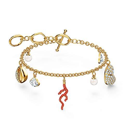 Swarovski Shell Coral Armband, Rot, vergoldet