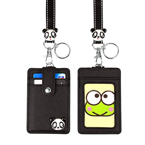HASFINE Cute Credit Card Case Neck Pouch ID Badge Holder Lanyard Wallet with Cartoon Shield Keychain for Students Teens Boys Girls Women
