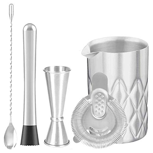 Mixing Glass SetBartender Kit with DoubleWall Stainless Steel Cocktail Mixing GlassSpoonJiggerStrainer amp MuddlerUnbreakable Design550ml 18ozFantastic Mixology Gift