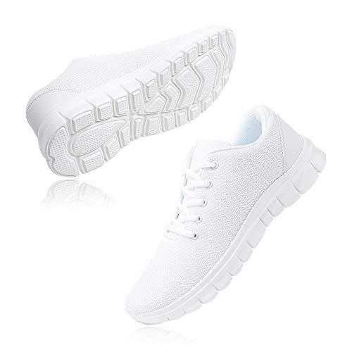 Zapatillas Running Hombre Zapatos Deportivos con Cordones Casuales Sneakers Sport Fitness Gym Outdoor Transpirable Comodas Calzado Blanco Talla 44