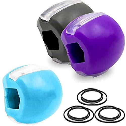 3 PièCes Exerciseur de mâchoire et équipement de tonification du cou Toner facial Pour Le Visage Plus Mince Exercice Du Cou Double Retrait Du Menton (3 pièces, noir + bleu + violet)