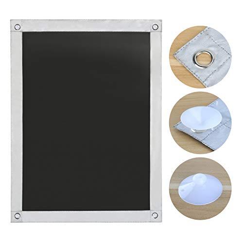 OBdeco Thermo Rollo Dachfenster Sonnenschutz Verdunkelungsrollo für Velux Hitzeschutz ohne Bohren mit Saugnäpfen (Schwarz, 96x115cm)