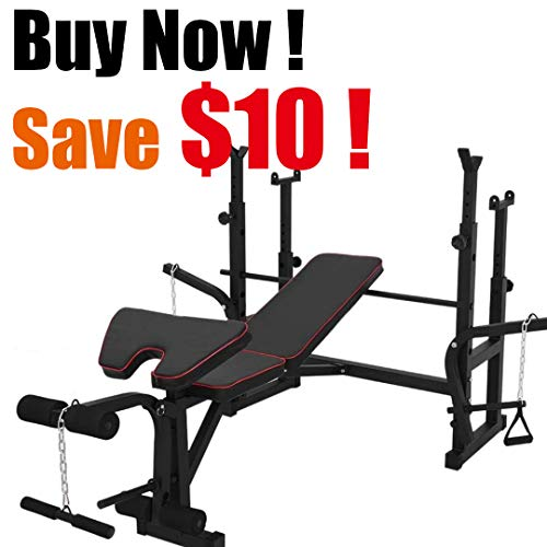 Adjustable Olympic Workout Bench with Squat Rack, Leg Developer Extension, Preacher Curl, Chest Press, Weight Storage, Bench Press Home Gym Equipment for Workout Fitness Strength Straining