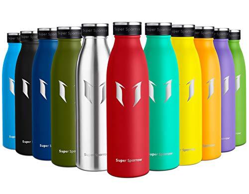 Super Sparrow Botella de Agua Acero Inoxidable- 750ml - sin BPA - islamiento de Vacío de Doble Pared, Botellas Frío/Caliente, Reutilizable para Niños, Colegio, Sport, Gimnasio, Bicicleta