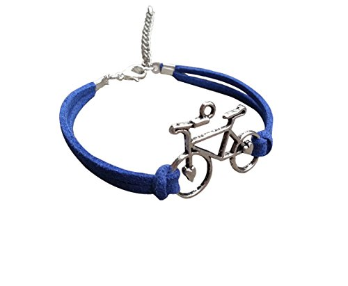 Joyplancraft Pulsera de bicicleta, plata con colgante de bicicleta con cuerda de gamuza azul real.
