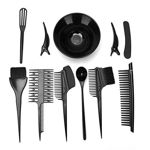 10pcs coloration des cheveux ensemble d'outils de teinture, double face coloration des cheveux peigne pinceaux de teinture bol de mélange kit de coiffure pour salon de bricolage usage domestique