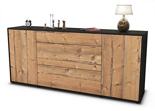 Stil.Zeit Sideboard Eleonora/Korpus anthrazit matt/Front Holz-Design Pinie (180x79x35cm) Push-to-Open Technik & Leichtlaufschienen