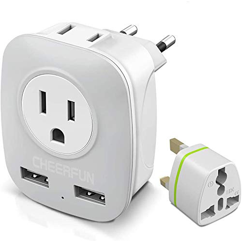 European Adapter, Europe Travel Plug Adapter for UK Ireland Italy France Germany Spain Iceland and More, International Power Adapter with 2 USB and 2 US Outlets to Charge Phone iPad Laptop in EU