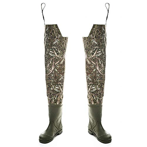 Foxelli Nylon Hip Waders – Waterproof Camo Hip Waders for Men with Boots, Lightweight Wading Hip Boots for Fishing & Hunting