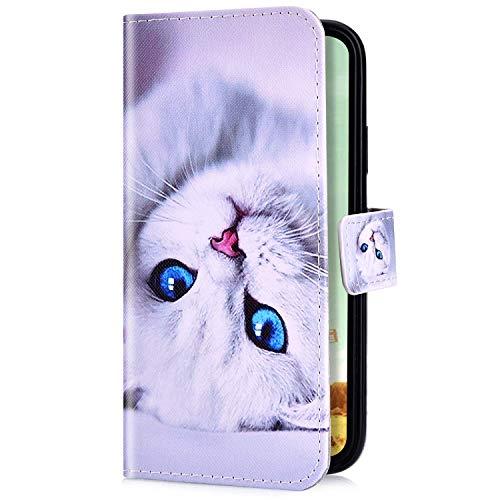 Uposao Kompatibel mit Samsung Galaxy S10 Handyhülle Handy Tasche Schutzhülle Cool Muster Flip Case Brieftasche Klapphülle Leder Hülle Bookstyle Wallet Hülle Cover Kartenfächer,Weiß Katze