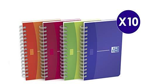 Oxford My colours - Pack de 10 cuadernos doble espiral, tapa plástico translúcido, 9 x 14 cm