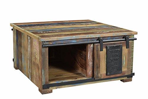 SIT-Möbel Jupiter Couchtischtruhe, Bunt Lackiert, Altholz, Natur, 80 x 80 x 40 cm
