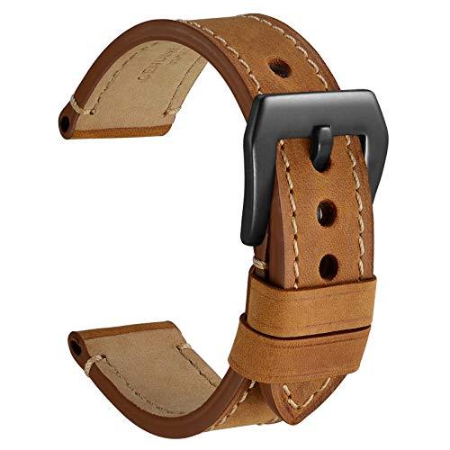 WOCCI Bandas de reloj, 18mm 20mm 22mm 24mm Sillín Estilo Crazy Horse Correa de Reloj de Cuero