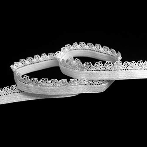 DIY PARK 5 Yard 3/8' 10mm Picot Loop Decorative Frilly Lace Trim Elastics Spandex Band Underwear Lingerie Dress Sewing Craft (White)