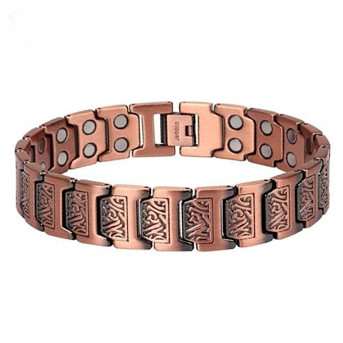 99,9% cobre pulsera para hombres regalo del día del padre con doble fila imanes alivio del dolor para artritis 22,5 cm/1,5 cm