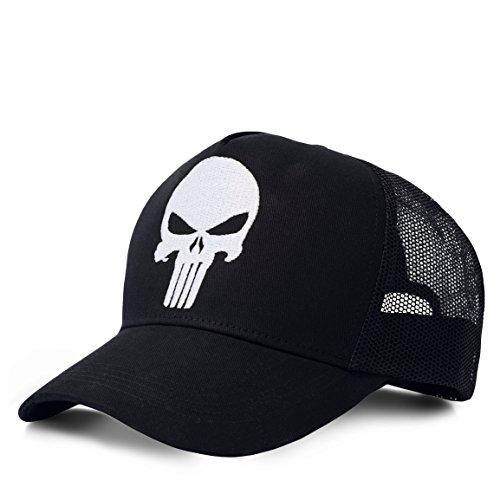 Logoshirt Marvel Comics - Super-héros - Punisher Logo Casuqtte - Visière - Trucker Cap Enfant - avec Logo brodé - Noir - Design Original sous Licence
