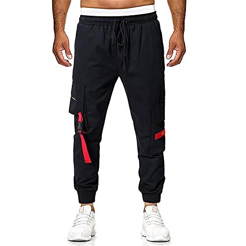 Fansu Pantaloni Cargo Uomo Slim Casual Sportivi Trekking Pants con Elastico Chino Coulisse Laterali Multi-Tasca Ragazzi Fitness Lunghi Trousers (Nero,M)