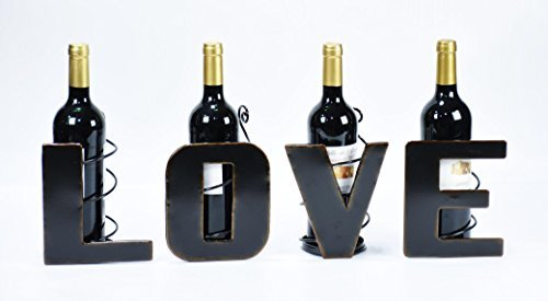 LOVE Metal Wine Bottle Holders - Decorative Counter-top Stand - Home Decor Gift for Any Wine Lover! All 4 Letters L O V E!