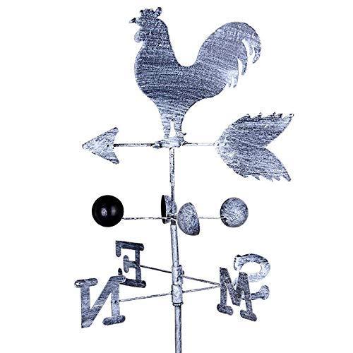 Proglam Traditionelle Wetterfahne aus Eisen, Windgeschwindigkeit, Richtungsanzeige für Garten