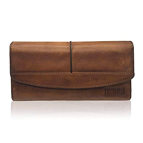 LETEULO Geldbörse Damen Groß Portemonnaie Echtem Leder Portmonee Handgemachte Viele Fächer mit 18 Kartenfächer Geldbeutel Kartenhalter Brieftasche Braun