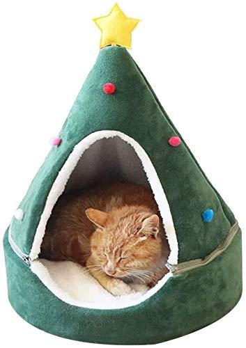 Lelesta Lettino Natalizio per Cani e Gatti, Cuccia per Gatti a Forma di Albero di Natale, Accogliente Cuccia per Cuccioli, Letto per Dormire, Letto Invernale Morbido e Caldo per Animali Domestici (S)