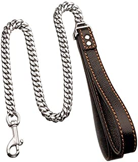 W/W Lifetime 2-3 FT Heavy Duty Strong Dog Leash with Comfortable Genuine Leather Padded Handle and 18K Gold Plated Stainless Steel Dog Leashes for Medium and Large Dogs