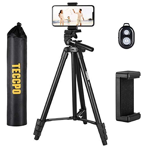 Treppiede, TECCPO Treppiedi Portatile, Flessibile 360°, Bluetooth, Supporto per Smartphone, Treppiedi Fotocamera, Treppiede Livella Laser, Estensibile Fino a 1,35m, Max Capacità di Peso 3KG - PMLT01H