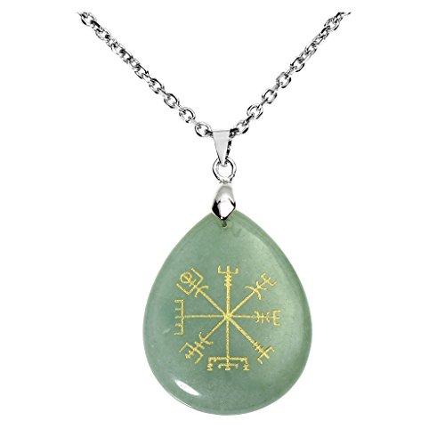 Jovivi Green Aventurine Crystal Quartz Healing Teardrop Gemstone Chakra Pendant Viking Compass Vegvisir Rune Necklace Jewellery for Women Men