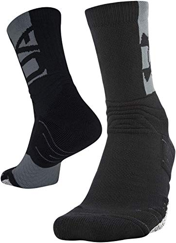 Under Armour Adult Playmaker Crew Socks, 1-Pair , Black/Pitch Gray , Shoe Size: Men 8-12; Women: 9-12