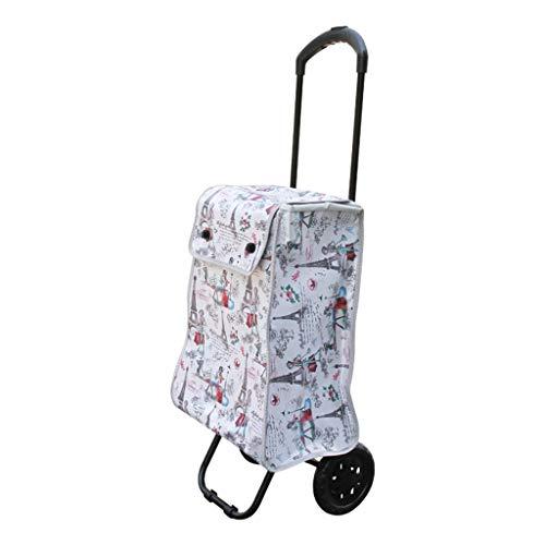 Panier, chariot pliant extensible les personnes âgées achètent de la nourriture petit panier panier sac de transport de voyage en tissu Oxford, portant environ 35 kg (couleur: blanc, taille: 41 * 31,