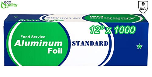Best Review Of [9 Pack] Food Service Standard Duty Aluminum Foil Roll (12 in x 1000 ft) with Sturdy ...